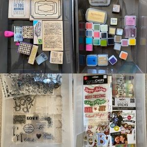 Assorted wood stamps, paper chits & rubber stamps